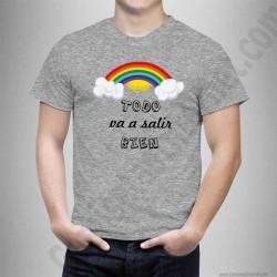 Camiseta modelo Arcoíris con frase TODO va a salir BIEN Chico color gris jaspeado