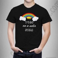 Camiseta modelo Arcoíris con frase TODO va a salir BIEN Chico color negro