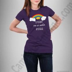 Camiseta modelo Arcoíris con frase TODO va a salir BIEN Chica color violeta