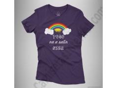 Camiseta Arcoíris con frase TODO va a salir BIEN Chica color violeta