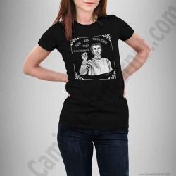 Camiseta modelo Fernando Simón con frase Me he comido una almendra Chica color negro