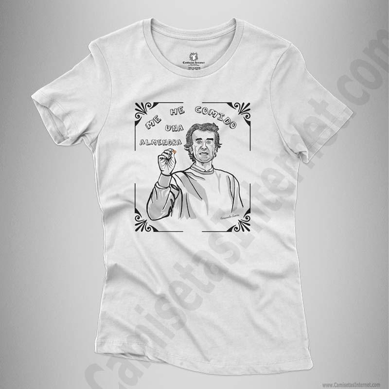 Camiseta Fernando Simón con frase Me he comido una almendra Chica color blanco