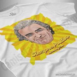 Camiseta Fernando Simón con frase Siempre Positivo Chico color blanco perspectiva cerca