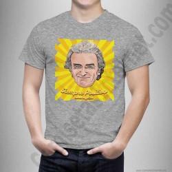 Camiseta modelo Fernando Simón con frase Siempre Positivo Chico color gris jaspeado