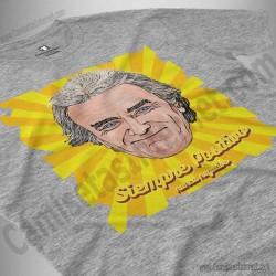 Camiseta Fernando Simón con frase Siempre Positivo Chico color gris jaspeado perspectiva cerca