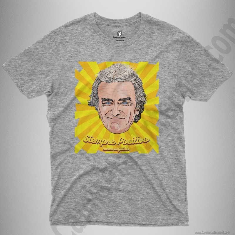 Camiseta Fernando Simón con frase Siempre Positivo Chico color gris jaspeado