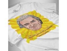 Camiseta Fernando Simón con frase Siempre Positivo Chica color blanco perspectiva cerca