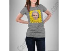 Camiseta modelo Fernando Simón con frase Siempre Positivo Chica color gris jaspeado