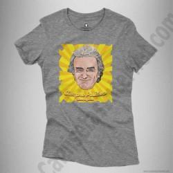 Camiseta Fernando Simón con frase Siempre Positivo Chica color gris jaspeado