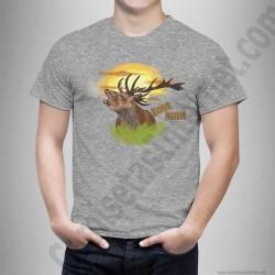 Camiseta modelo Ciervo en berrea Chico color gris jaspeado