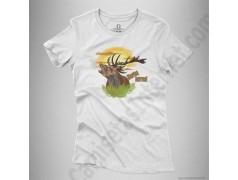 Camiseta Ciervo en berrea Chica color blanco