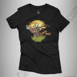 Camiseta Ciervo en berrea Chica color negro