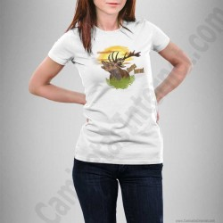 Camiseta modelo Ciervo en berrea Chica color blanco