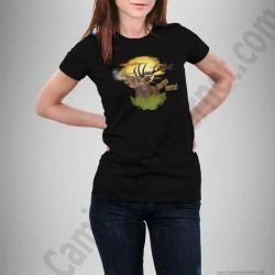 Camiseta modelo Ciervo en berrea Chica color negro