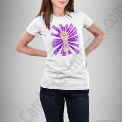 Camiseta modelo Día de la Mujer luchadora chica color blanco