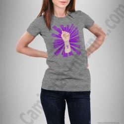 Camiseta modelo Día de la Mujer luchadora chica color gris jaspeado