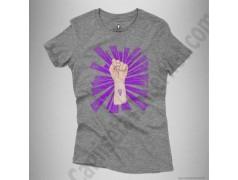 Camiseta Día de la Mujer luchadora chica color gris jaspeado