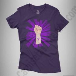 Camiseta Día de la Mujer luchadora chica color violeta