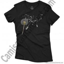 Camiseta Diente de león chica color negro